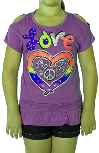 Girl's Summertime Peace & Love Open Shoulder Shirt in Blue and Purple (7/8, Purple) by S.W.A.K. (Image #2)