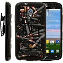 TurtleArmor | Alcatel One Touch POP Mega Case | A995G | D472 [Hyper Shock] Rugged Hybrid Shell Kickstand Silicone Holster Belt Clip Military War Camo Design - Black Bullets