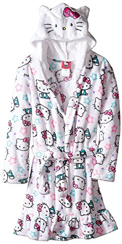 Hello Kitty Toddler Girls' Hooded Fleece Robe, White, 4T (Toddler Girl Robe)
