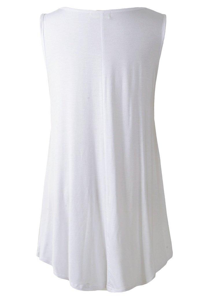 LARACE Women Solid Sleeveless Tunic for Leggings Swing Flare Tank Tops (L, White) by LARACE (Image #3)