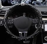steering wheel cover crystal - BAIMIL Car Steering Wheel Cover Universal Cystal Crown PU Leather DAD Diamond Steering Wheel Cover 15 inch Black