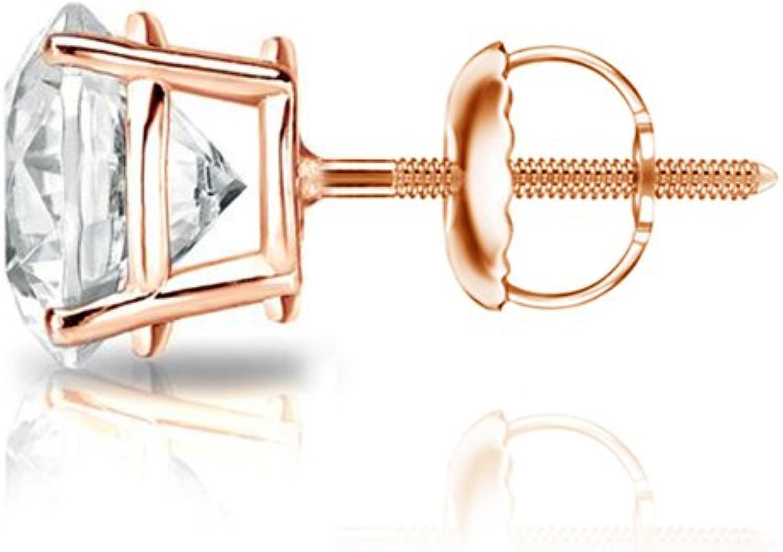 0.08cttw, Good, VS1-VS2 Diamond Wish 14k Gold Round SINGLE Diamond Stud Earring 4-Prong Basket Screw-Back