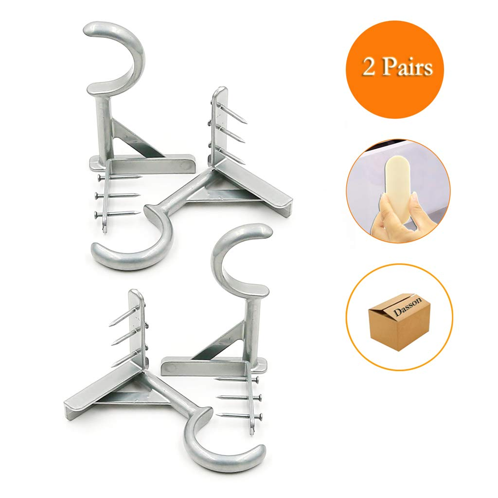2 Pair Single Hang Curtain Rod Holders No Drill Tap Right Into Window Frame Curtain Rod Bracket Curtain Brackets for Window Bedroom Decoration (4PC Silver) by Daason