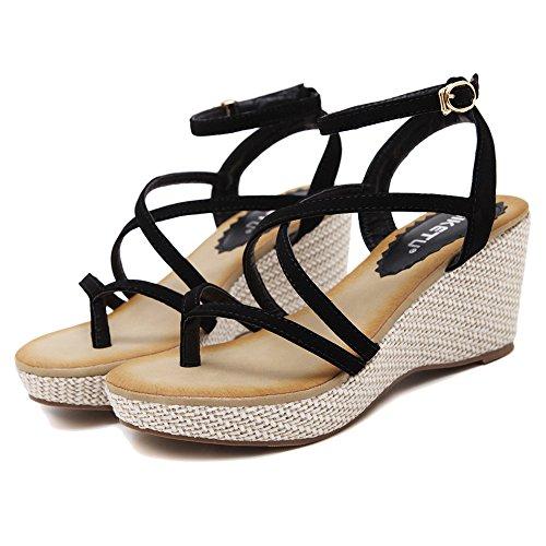 Sandalo Con Cinturino Alla Caviglia Da Donna Agowoo Sandalo Con Zeppa Gladiatore Nero