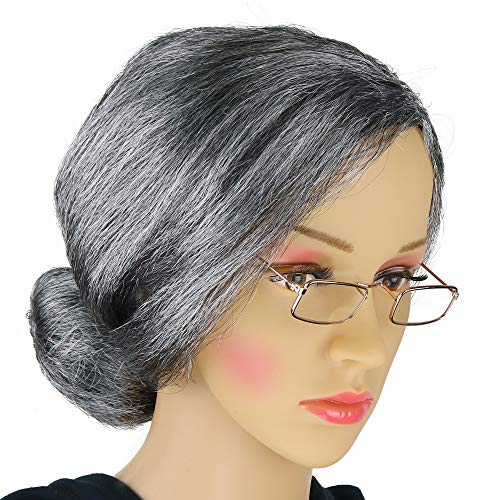 Halloween Old Lady Costume (Skeleteen Old Lady Costume Set - Grey Granny Wig and Fake Gold Rectangle Eyeglasses Grandma Set for Women and)