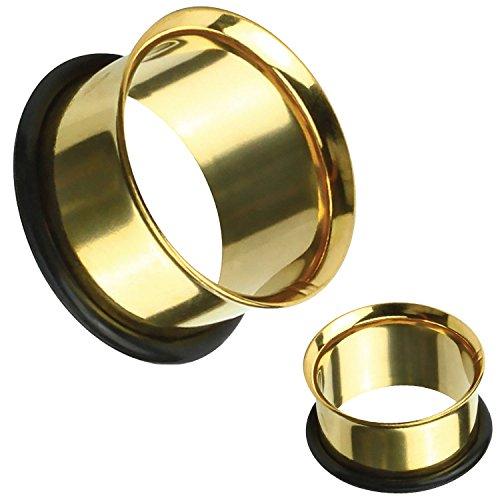 BodyJ4You Ear Tunnel Plugs Single Flare Gauges 14MM Goldtone Flesh Earrings Stretching Jewelry