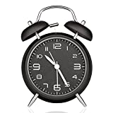 Neon Creative Twin Bell Quartz Analog Alarm Clock Classic Table Clock with Loud Alarm and Nightlight for Kids Children - Battery Operated - Best Gift (black)