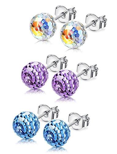 KesaPlan Aurora Borealis Spherical Stud Earrings Set for Women Made with Swarovski Crystals Anniversary Gifts for Her (Set Swarovski Crystal)