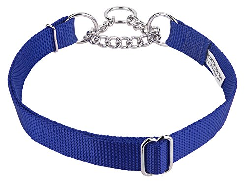 Country Brook Design | Half Check Nylon Dog Collars-Royal Blue-M
