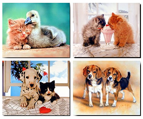 Cute Cat and Dog Wall Decor Kids Room Friendship Duck Picture Four Set 16x20 Animal Art Print Posters - Cats Pictures Dogs