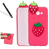 Galaxy A5 2017 3D Case,Galaxy A5 2017 Rubber Case,Leeook Cute Lovely 3D Red Strawberry Cartoon Ornament Pattern Design Soft Silicone TPU Gel Shockproof Protective Ultra Thin Silm Back Protector Flexible Skin Cover Case for Samsung Galaxy A5 2017 + 1 x Free Black Stylus