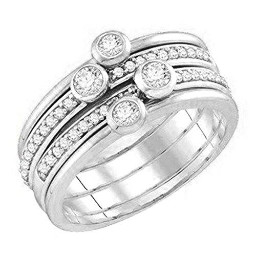 Dazzlingrock Collection 0.55 Carat (ctw) 10K Round White Diamond Ladies Fashion Right Hand Ring 1/2 CT, White Gold, Size 5