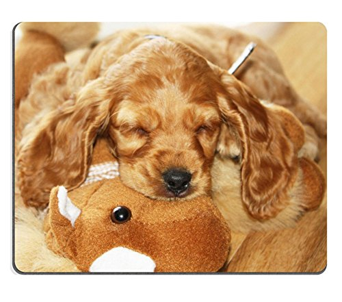 Liili Mouse Pad Natural Rubber Mousepad Spaniel Puppy sleeping together with his toy Photo 255854