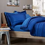 Pinzon by Amazon 7-Piece Bed In A Bag - Full/Queen, Royal Blue Calvin Stripe
