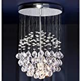 Modern Silver Chrome Ceiling Light with Suspended Clear Acrylic Drople