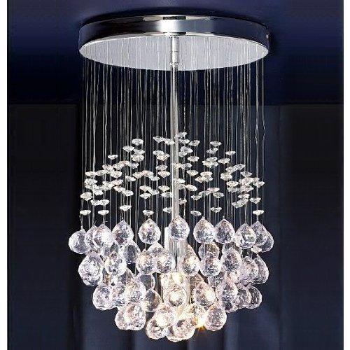 Tolle verchromte Pendelleuchte im Wasserfall-/Kugeldesign mit transparenten Juwelen und Tropfen aus Acryl