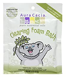 Aura Cacia Aromatherapy Foam Bath, Clearing with Eucalyptus, 2.5 ounce packet (Pack of 6)