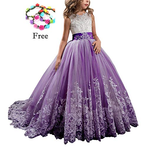 Magicdress Princess Lilac Long Girls Pageant Dresses Kids Prom Puffy Tulle Ball Gown 26 ()