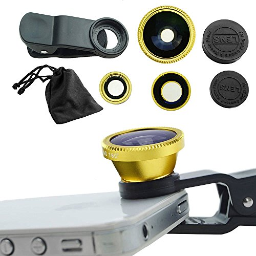 (Case Safety 1 x 3in1 Lens Photo Clip Kit Set for Mobile Phone Tablet PC , Gold)