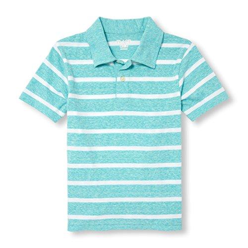 The Children's Place Big Boys' Short Sleeve Stripe Polo, Aegean Sea 97444, L (10/12) - Stripes Boy Note