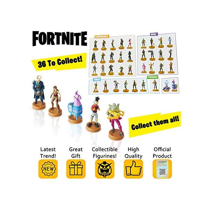 512Cojs3s5L ⚔️ PACK 5 FIGURAS FORTNITE: Cada paquete contiene 5 figuras del famoso videojuego. Todas las figuras han sido diseñadas cuidando cada detalle para obtener un resultado muy realista, incluidas sus armas del juego. Cada figura mide aproximadamente 7.5 cm. ⚔️ 36 ESTAMPADORES PARA COLECCIONAR: Hay 36 mini figuras para coleccionar en selecciones aleatorias de 5. Hemos incluido personajes legendarios y épicos como Fortnite Llama, Battle Bus, Panda, Skull Trooper, Bunny Brawler, Merry Marauder, Pumpkin Head, Love Ranger, Rex, Black Knight, Red Nosed Raider, Cuddle Team Leader, The Rabbit Raider, The Ginger Gunner, The Brite Bomber With Her Unicorn, Rapscallion, Diving Swim Girl, Burnout, Codename ELF, Nog Ops, Crackshot y muchos otros. ⚔️ PRODUCTO OFICIAL DE FORTNITE: Accesorios y productos de Fornite de la tienda oficial de Epic Games. Visite nuestra tienda online para encontrar sudaderas, mochilas y ropa a juego.