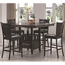 Coaster Jaden Transitional Cappuccino Five-Piece Counter-Height Dining Set
