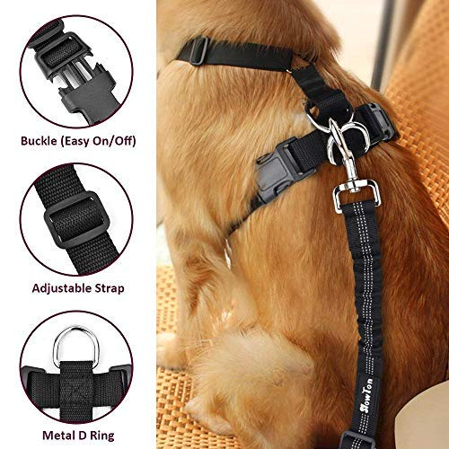 Large Size SlowTon Dog Car Harness Seatbelt Set Pet Vest Harness with Safety Seat Belt for Trip and Daily Use Adjustable Elastic Strap and Multifunction Breathable Fabric Vest for Dogs