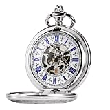 TREEWETO Men's Steampunk Skeleton Mechanical Silver Fob Retro Pocket Watch