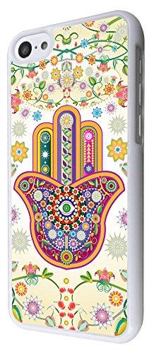 052 - Lucky Sharm Floral Hamsa Hand Shaby Chic Design iphone 5C Coque Fashion Trend Case Coque Protection Cover plastique et métal - Blanc
