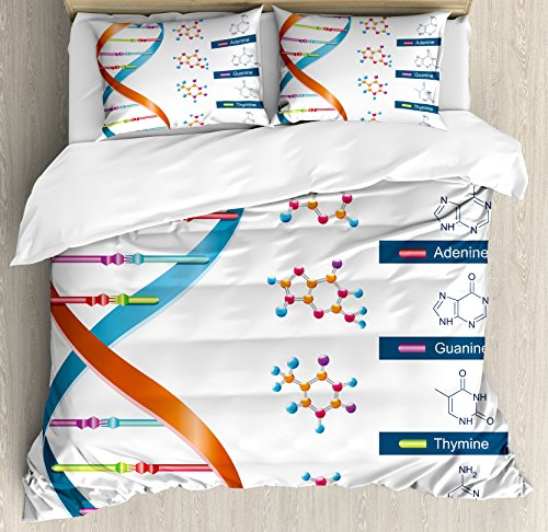 Ambesonne Educational Duvet Cover Set, DNA Bases Chemistry Biochemistry Biotechnology Science Spiral Genetic, Decorative 3 Piece Bedding Set with 2 Pillow Shams, Queen Size, Blue Orange