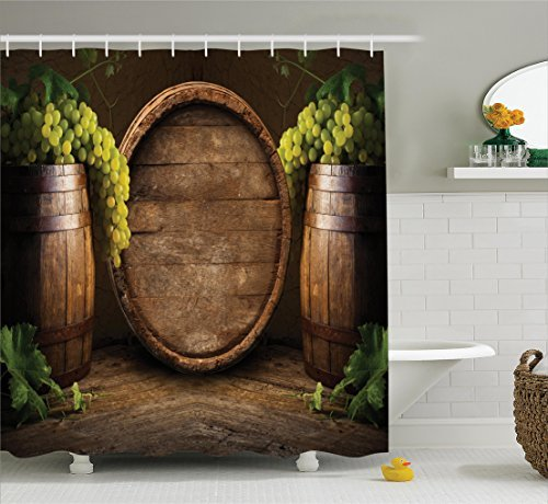 (Ambesonne Winery Decor Collection, Still Life of Wine with Wooden Keg Ancient Old Fashioned Wine Keeper Tasting Scene, Polyester Fabric Bathroom Shower Curtain Set with Hooks, Green Sienna Brown)