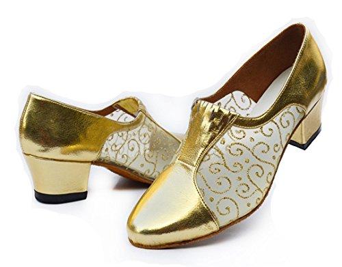 Women's Closed Tango Dance Appliques Ballroom Gold TDA Glitter Modern Salsa Mesh Shoes Toe Latin dIpI04