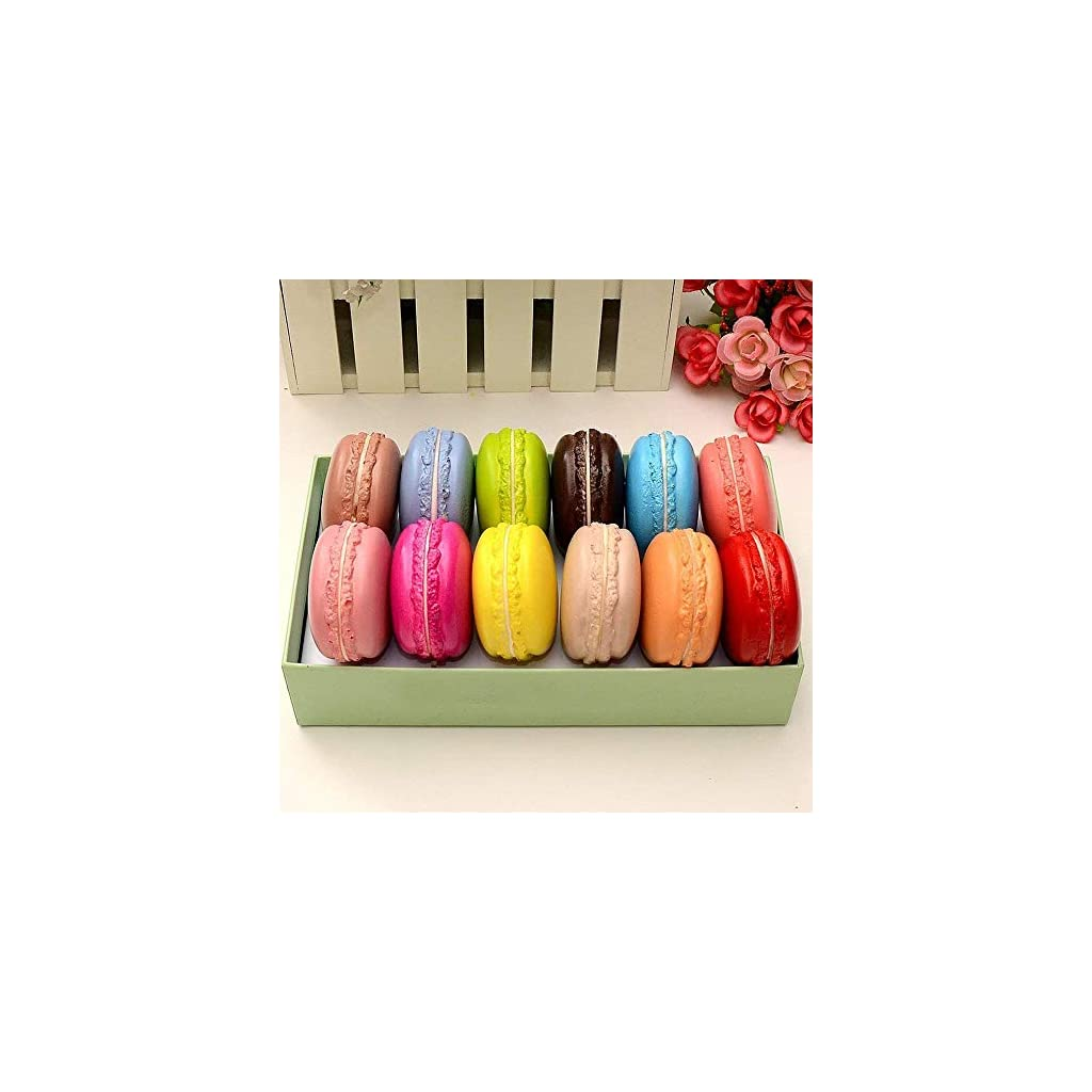 Longpro Realistic Artificial French Macaroons Fake Macaron for Display High Simulation Artificial Dummy Macaroon 12 PCS Studio Photo Prop DIY Decoration Accessories Artificial Dessert Cake Food Toys