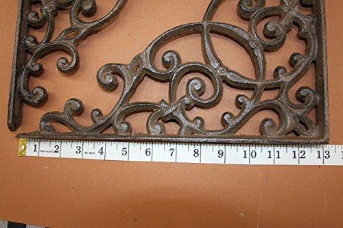 Elegant Farmhouse Entrance Way Corner Shelf Brackets Solid Cast Iron, 13'', Set of 2 by Cast Iron Home Decor Collectibles (Image #3)