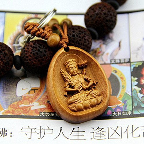 Charms Findings Purses (Eight Kind Of Buddha Guardian Rose Wood Carving Talismans Key Ring Key Chain (Akasagarbha))