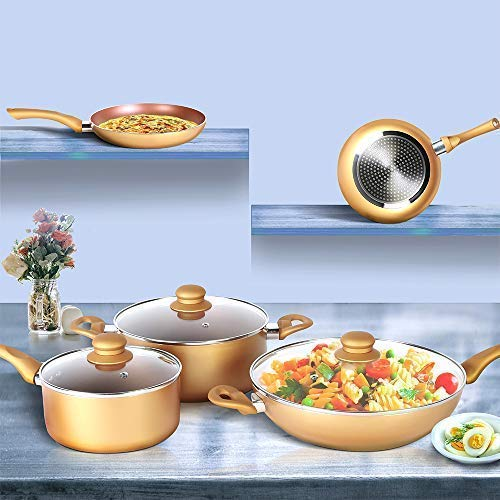 8pcs Non-Stick Coated Cookware Set, Induction Compatible Oven Safe Ceramic Pots and Pans Cookware set Includes Chef Frying Pan, Saucepan, Sauce pot and Wok with DETACHABLE HANDLE & Vented Glass Lid