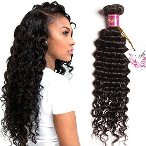 UNice Hair Icenu Series 8a Brazilian Virgin Hair Deep Wave Bundle Weave Unprocessed Human Hair Extension 1Piece Natural Color (22'')