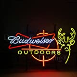 Desung New 24''x20'' Budweisers Beer Outdoors Deer Neon Sign Man Cave Bar Pub Beer Neon Lamp Real Glass Neon Light DX03
