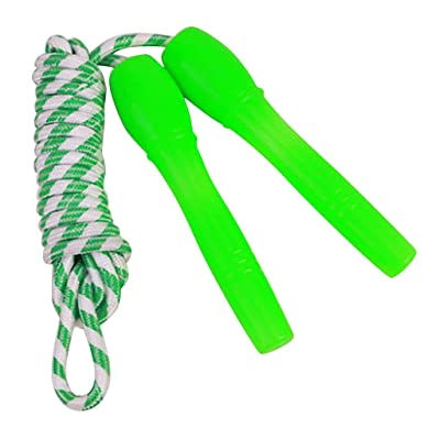 Jinjin 2.4 Meters Children's Skipping Rope Cotton Jump Rope with Plastic Handle Fitness Jump Rope Braided Rope Djustable Amount of Indoor Fitness Exercise Children (Green): Baby