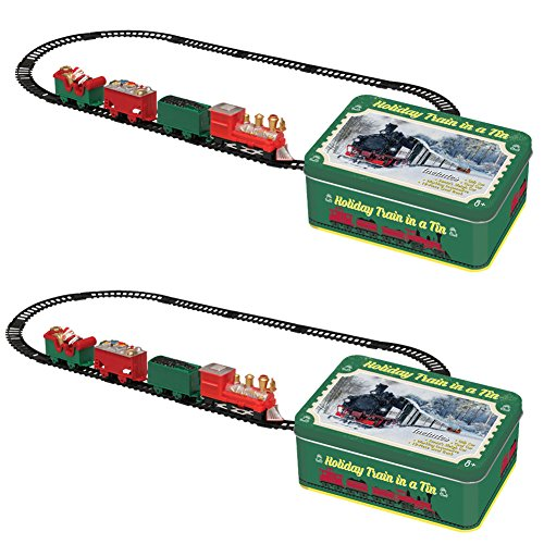 Johnson Smith Co. (Set/2) Christmas Holiday Train in A Tin - 12 Pc Track Included - Ages 8+