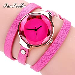 Women's Quartz Watch,Hosamtel Girls Fine Leather Strap Winding Analog Bracelet Watch A47 (C)