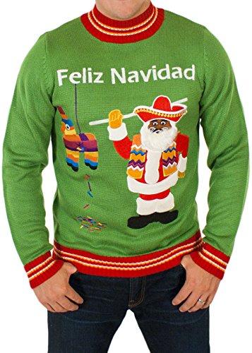 Men's Feliz Navidad Ugly Christmas Sweater in Green By Festified (Large)