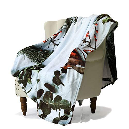 (SimbaDeco Sofa Bedding Throw Blanket for Outdoor Plant Snow Matsueda Mistletoe Poinsettia Eucalyptus Leaves Blankets Soft Flannel Plush Sherpa Fleece 50x70 Inch White)