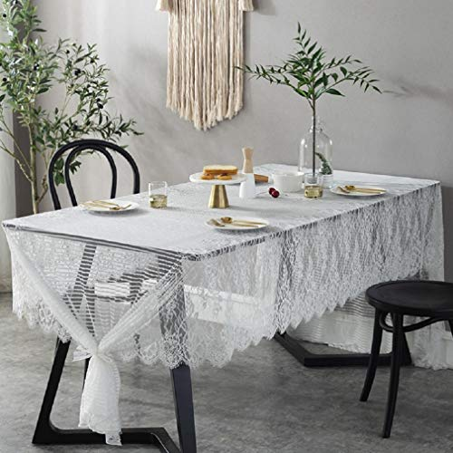 Clear Overlay White (omyu White Lace Tablecloth Wedding Decor Translucent Table Cover Embroidered Tea Table Cloth Home Hotel Banquet Outdoor Party Wedding Decoration (100x145 cm))