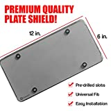 Zone Tech Clear Smoked License Plate Shields - 2-Pack Novelty/License Plate Clear Smoked Flat Shields