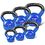 Yes4All Combo Vinyl Coated Kettlebell Weight Sets - Great for Full Body Workout and Strength Training - Vinyl Kettlebells 5 10 15 20 25 30 lbs