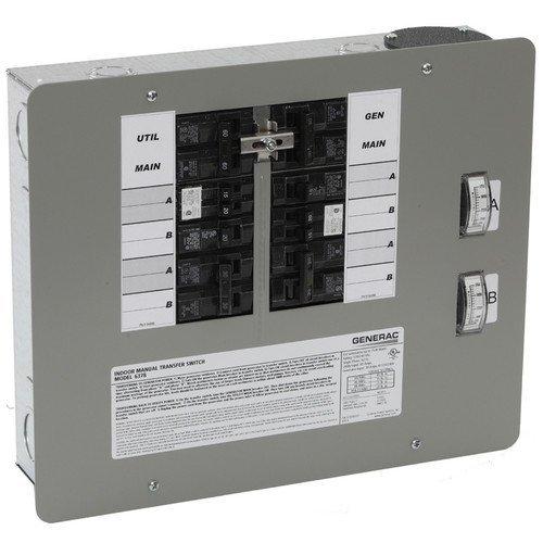 Generac 6378 30-Amp 10-16 Circuit Indoor Flush-Mount Manual Transfer Switch for Maximum 7,500 Watt Generators