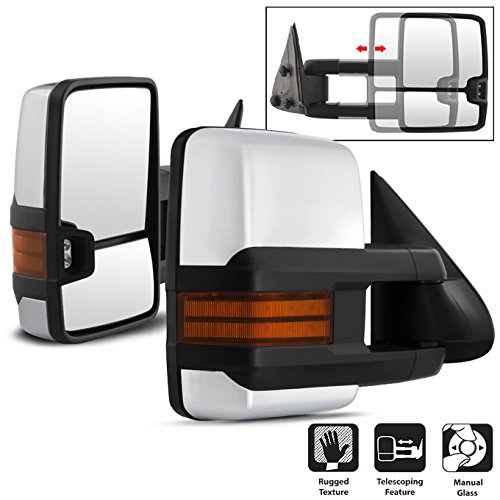 For 03-06 Chevy Siverado Pickup Truck Extending Tow Power Heated Function Amber Mirrors w/Chrome Cover