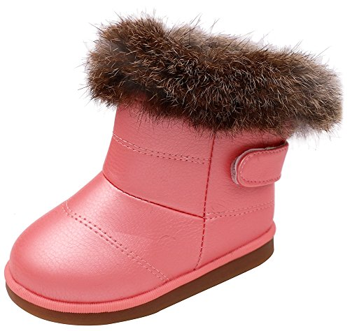 [Femizee Toddler Girls Fully Fur lined Waterproof Winter Snow boots,Pink 11 M US Little Kid] (Furry Boots Cheap)