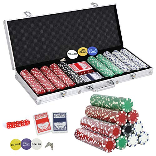 (Smartxchoices 500 Poker Chip Set 11.5 Gram Dice Style Clay Casino Poker Chips w/Aluminum Case, Cards, Dices, Blind Button for for Texas Holdem, Blackjack, Gambling)